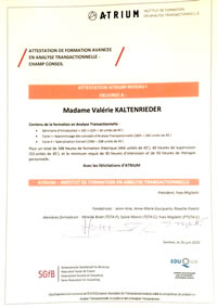 Attestation Analyse Transactionnelle Valérie Kaltenrieder